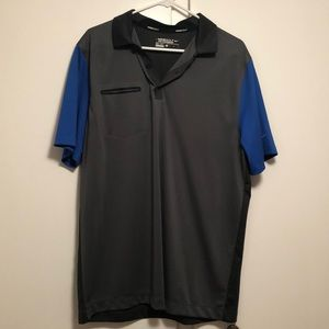 Grey and blue Nike golf polo